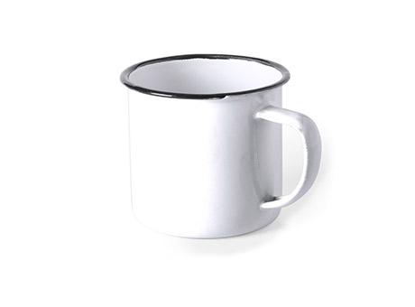 Emaille Tasse Weiß mit Logo